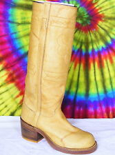 7 B vtg 70s ladies tan leather JUSTIN knee-high cowboy campus riding boots