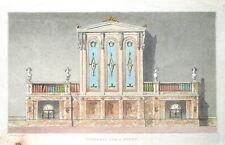 Bibliothèque pour une étude, Ackermann Original aquatinte ANTIQUE PRINT 1824