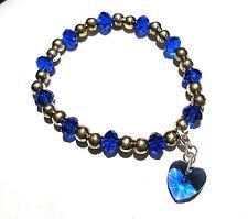 'AAA' GRADE BLUE CRYSTAL GLASS BEADED STRETCH HEART CLIP  CHARM BRACELET