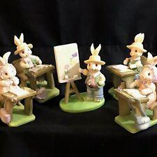 "Bunny Rabbit Lot of 5 Figurines School Desk Artist with Easel 3½"""