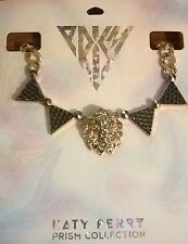 NEW KATY PERRY ROAR CHARM NECKLACE LION HEAD TRIANGLES CHUNKY GOLD CHAIN PRISM