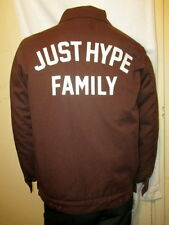 HYPE MENS DARK BROWN COTTON JACKET FRONT LOGO+JUST HYPE FAMILY BACK MEDIUM C@@L!