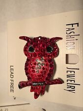 Swarovski Crystal Rhinestone Red OWL Pin Brooch New On Card