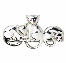 BEAUTIFUL THREE SITTING CATS BROOCH NATURAL RUBY EYES 925 SILVER HALLMARKED