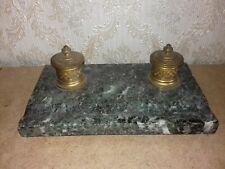 Ancien encrier.  Base Marbre et encriers (x2)  en bronze ciselé  .19eme...