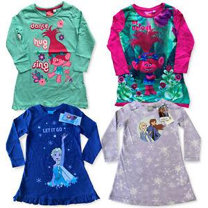 Girls Trolls Frozen 2 Elsa Nightdress Nightie Nighty Pyjamas Age 3 - 10 Years
