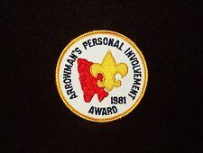 BOY SCOUT   OA  ARROWMANS PERSONAL INVOLVEMENT AWARD  1981  PP