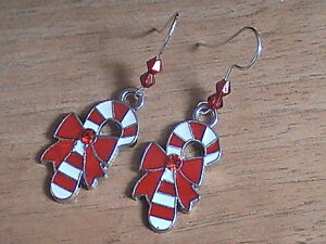 christmas earrings candycane bow red white stripes striped rare hand made
