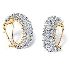 1/10 TCW Diamond Cluster Hoop Earrings 18k Yellow Gold-Plated