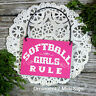 DECO Mini Sign SOFTBALL GIRLS RULE Fast Pitch Pink Ornament Team Gift Favor