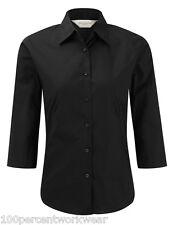 Size LARGE Russell 946F BLACK Ladies Womens 3/4 Sleeve Poplin Shirt Blouse Work