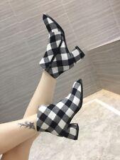 Modisch Damenschuhe stiefeletten Kariert Blockabsatz zip Ankle Boots GR.34-44