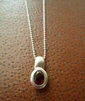 Vintage Jewellery Sterling Silver Ruby Pendant Chain Necklace Antique Jewelry