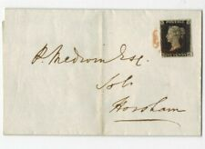 1d Penny black Plate 6. A good used example on cover (letter) Brief
