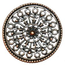M374p Antiqued Copper 34mm Intricate Open Flat Round Pendant Focal Link 4/pkg