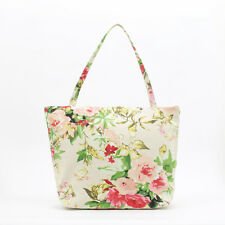 NEW Cotton Tote bag - Knitting craft bag - Zip Beach bag - Shopper - Rose floral