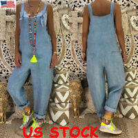 Women Ladies Full Length Denim Dungarees Overalls Casual Loose Jumpsuit Trousers