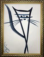 Margarita Bonke Malerei Zeichnung art schwarz katze cat A3 blau black abstract