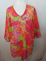 MAGGIE BARNES Plus Size Blouse Shirt Top, 0X 14w 16w, Floral Print, Relaxed C405