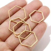 10s Gold Stainless Steel Hexagon Earring Findings Connectors Ring Jewelry Making