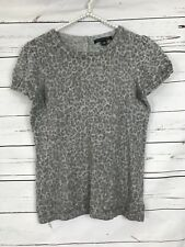 Banana Republic Cottob Wool Cashmere Blend Leopard Print Gray Sweater S
