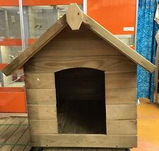 cuccia cane in legno impregnato modello tetto a spiovente apribile su un lato