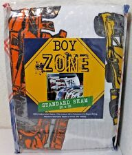 New -Boy Zone One (1) Standard Pillow Sham White/Multi Color Race Cars, Drivers