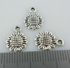 60pcs Tibetan Silver Sunflower Flowers Charms Crafts Pendants 9x12mm