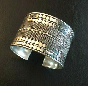 Sterling Silver Bracelet Cuff Wide Statement Tribal Bali Signed VI Bo 55g #1276