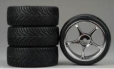 5-Spoke Chrome Wheel, Radial (4) RC Touring Car Wheels/Tire Set 1/10