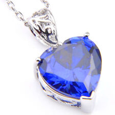 European Jewelry Heart-Shaped Swiss Blue Topaz Gemstone Silver Necklace Pendants