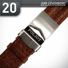 POLJOT LEDERBAND Büffelleder Leder Faltschließe Dunkel Braun 20mm