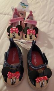 Disney Baby Minnie Mouse Crib Shoes Soft Sole Sneakers 6-9 Months Lot of 2 NEW