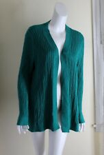 NWT Talbots -Sz 2X Green Cabled Long Open Front Artsy Cardigan Sweater Jacket