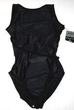 Nwt New Danskin Leotard Leo Tank Shimmer Velvet Criss-Cross Straps Black Women