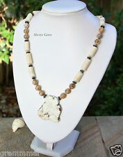 Handmade Off White Coral, Picture Jasper with Freefrom Howlite slab Necklace