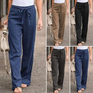 Belle Femme Taille Elastique Couleur Unie Coton lin Jambe Large Pantalos Plus