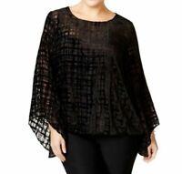 NWT Alfani Women's Plus Size Velvet Burnout Angel Sleeve Top Deep Black Top/Cami