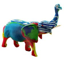 Handmade Recycled Flip Flop Rubber Elephant Statue (Kenya) Blue
