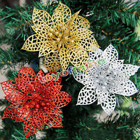 "Christmas 6"" Poinsettia Glitter Flower Hollow Christmas Tree Wedding Party Decor"
