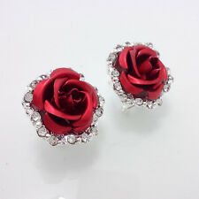 1 pair fashion Silver Plated Red Rose Crystal mosaic Earrings DD18