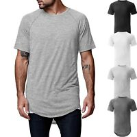 Mens HIPSTER T Shirts Raglan Casual Extended Longline Hip Hop Heavy Tee