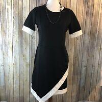 NWT Sunnow Womens Retro Bodycon Asymmetrical Black & White Dress Sz Large   F12