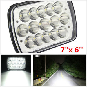 "7""X6'' Inch 15LED HID Bulb Light H4 Crystal Clear Sealed High/Low Beam Headlight"