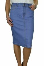 Ladies Stretch Denim Jeans Skirt Sequin Detail Pale Blue Plus Size 12-24 16