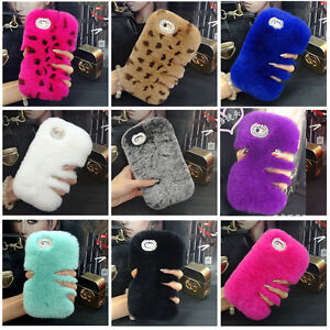 Girls Luxury Bling Diamond Warm Furry Plush Fluffy Rabbit Fur Soft Case Cover
