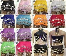 12 colors chose Belly Dance Skirt Scarf Hip Wrap Belt Chiffon Coins Low Price