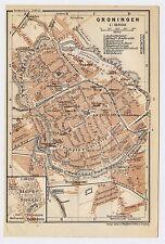 1910 ORIGINAL ANTIQUE CITY MAP OF GRONINGEN / NETHERLANDS HOLLAND