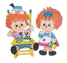 VINTAGE 1972 RAGGEDY ANN & ANDY CHILDRENS BEDROOM WALL HANGING TOY DECORATIONS