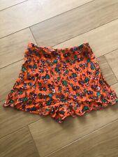 Topshop Vintage Floral Summer Shorts Bright Orange Size 8   RRP £26